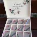 Ajándékátadó doboz esküvőre. :-), Esküvő, Nászajándék, Decoupage, transzfer és szalvétatechnika, Festett tárgyak, 12 rekeszes doboz, melybe beletehetsz 12 pici ajándékot, hozzájuk illő jókívánságokkal az ifjú párn..., Meska