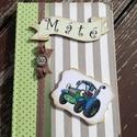Vidám napló, kisfiúnak. :-), Naptár, képeslap, album, Baba-mama-gyerek, Jegyzetfüzet, napló, Ezt a naplót egy traktor imádó kisfiúnak készítettem el. :-)   Ha szeretnél hasonlót, kérle..., Meska