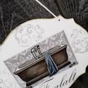 Fürdőszobai tábla, feliratozva. :-), Otthon, lakberendezés, Dekoráció, Utcatábla, névtábla, Festett tárgyak, Decoupage, transzfer és szalvétatechnika, A fa lapot festettem, mintát és feliratot tettem rá és lakkoztam. Kérésedre más felirattal és képpe..., Meska