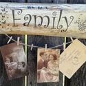 """""""Family""""-fotótartó, üzenő deszka. :-), Baba-mama-gyerek, Gyerekszoba, Decoupage, transzfer és szalvétatechnika, Festett tárgyak, Deszkát alakítottam át és egy natúr fotótartó lett belőle. :-) Csipeszeket tettem rá, mellyel rögzí..., Meska"""