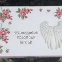 """""""Angyalszárny"""" - Feliratos, rózsás dobozka :-), Ékszer, Esküvő, Decoupage, transzfer és szalvétatechnika, Festett tárgyak, Fa dobozka, melyben tarthatsz ékszereket, apróságokat, szép emlékeket... :-) A dobozt festettem, fe..., Meska"""