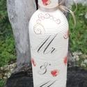 Mr és Mrs - zsinóros esküvői italos üveg. :-), Esküvő, Nászajándék, Decoupage, transzfer és szalvétatechnika, Pamutzsinórral tekert üveg, esküvői kínálónak vagy nászajándéknak. :-) Kérheted bármilyen mintával,..., Meska