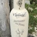 Vintage italosüveg, finom nedűnek, vagány csajoknak! :-), Mindenmás, Esküvő, Furcsaságok, Decoupage, transzfer és szalvétatechnika, Mindenmás, Fél literes palack, hozzá illő fa dugóval, melyet zsinóroztam és vintage motívumokat tettem rá tran..., Meska