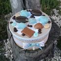 Kekszes doboz kávézáshoz, teázáshoz... :-), Esküvő, Konyhafelszerelés, Baba-mama-gyerek, Decoupage, transzfer és szalvétatechnika, Festett tárgyak, Kerek doboz, melyben tárolhatsz édességet, kekszet, csokit, cukorkákat. :-)  A doboz tetejét scrapb..., Meska