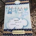 Babanapló, kisfiúnak. :-), Naptár, képeslap, album, Baba-mama-gyerek, Jegyzetfüzet, napló, Decoupage, transzfer és szalvétatechnika, Festett tárgyak, Ezt a naplót kisfiúknak készítettem el de kérhető lányos változatban is. :-) Az albumot festettem, ..., Meska