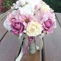 Romantikus örök-csokor, pasztell virágokkal. :-), Dekoráció, Esküvő, Otthon, lakberendezés, Csokor, Bájos csokor készült romantikus stílusban. :-) Minőségi anyagokat használtam fel, nagy hangsúlyt fek..., Meska