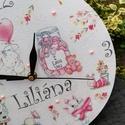 Névreszóló, baba-falióra, bájos mintákkal :-), Mesés- mintás falióra készült, mely szép kie...