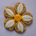Mézeskalács virág, Ünnepi dekoráció, Mézeskalácssütés, Jön a tavasz így én is előveszem a harsányabb színű ételfestékeket.   Ezt a sárga-fehér virágot a..., Meska