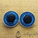 Csillogós gomb kapszula fülbevaló, Ékszer, Fülbevaló, Csillogós fekete gomb és világos kék nespresso kávékapszula együtteséből készült bedugós..., Meska