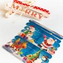 Puzzle kirakó spatulából, Játék, Baba-mama-gyerek, Készségfejlesztő játék, Társasjáték, Decoupage, szalvétatechnika, Spatulából szalvétatechnikával készített karácsonyi mintázatú kirakó, mely natúr raffiával van átkö..., Meska