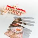 Puzzle kirakó - spatulából, Játék, Baba-mama-gyerek, Készségfejlesztő játék, Társasjáték, Decoupage, szalvétatechnika, Spatulából szalvétatechnikával készített karácsonyi mintázatú kirakó, mely natúr raffiával van átkö..., Meska
