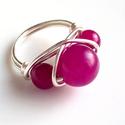 Pinkjáde gyűrű ezüst színű, Ékszer, Gyűrű, 10 és 6 mm-es pinkjádéból készítettem azt a gyűrűt. Fülbevalót, vagy medált készítek hozzá,ha kéred...., Meska