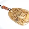 Buddha amulett nyaklánc ( medál), unisex ékszer, Ékszer, Férfiaknak, Medál, Nyaklánc, Valódi bőr nyaklánc különleges zsírkőből faragott és vaxolt  Buddha medállal. A láncot egy saját mag..., Meska