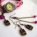Rózsaszín / pink óra, órakarkötő+ajándék fülbevaló+charm, Ékszer, óra, Karkötő, Karóra, óra, Különleges óra bronz színű foglalatban rózsaszín színű műbőr szíjjal és bronz színű a láncon. A lánc..., Meska