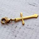 Kereszt sárgaréz charm vagy medál, Ékszer, Medál, Valódi sárgarézből készült medál vagy charm. Karkötőre vagy nyakláncra illeszthető. Kérésre réz lánc..., Meska