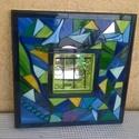Üvegmozaik tükör, Otthon, lakberendezés, Képkeret, tükör, Mozaik, Üvegművészet, Fenyőfa alapra üvegmozaik technikával készítettem a kék, zöld és sárga mindenféle árnyalatát felhas..., Meska