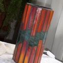 Őszi izzás, Otthon, lakberendezés, Lámpa, Asztali lámpa, Hangulatlámpa, Mozaik, Üvegművészet, 22 cm magas, henger alakú hangulatlámpát készítettem az ősz színeiben. Esténként meleg hangulatot v..., Meska