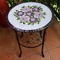 Rózsacsokros mozaik asztallap, Bútor, Otthon, lakberendezés, Asztal, Kerti dísz, Mozaik, Üvegművészet, Születésnapra készült ez az üde virágcsokrot ábrázoló mozaikozott asztallap.  IKEÁ-s asztalka üvegl..., Meska