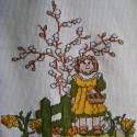 Itt a tavasz, Dekoráció, Otthon, lakberendezés, Húsvéti díszek, Kép, Keresztszemes hímzéssel készült tavaszi kép.Szép dekorációja lehet otthonodnak. Méret:38cmx32cm ..., Meska
