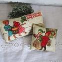 Karácsonyi levendula párnák, Dekoráció, Karácsonyi, adventi apróságok, Ünnepi dekoráció, Karácsonyi levendulapárnák . Levendulával és vatelinnel töltve. Méret: 9 x 4 cm 6 x 5 cm., Meska