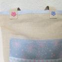 Romantikus táska, Táska, Egyedi,erős lenvászon táska,rózsaszín és kék színvilággal egyesítve. A táska elején óriás zseb csipk..., Meska