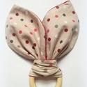 Nyuszifül rágóka, fogzókarika, rongyi, nyálkendő, Gyerek & játék, Táska, Divat & Szépség, Baba-mama kellék, Ruha, divat, Gyerekruha, Gyerek (1-10 év), Baba (0-1év), Nyuszifül formájú fogzókarika babáknak, pamutvászon nyálkendővel.   A kendő két különböző pöttyös pa..., Meska