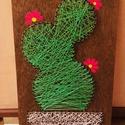 string art kaktusz, Dekoráció, Otthon, lakberendezés, Dísz, Kép, Mindenmás, String art (fonalgrafika) technológiával készítettem ezt a kaktuszos virágos lakásdekorációt, tehet..., Meska