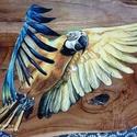 Ara papagájos falikép, Otthon & Lakás, Dekoráció, Falra akasztható dekor, Festészet, Teakfára akril festékkel festettem, majd pedig műgyantával kezeltem.  Mérete: körülbelül 23x32cm, Meska