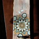 mandalás kézzel festett fa tálca, Otthon & Lakás, Konyhafelszerelés, Tálca, Festészet, Egy mandalás tálcát kèszítettem, picit a tèl hangulatában. Eperfára festettem, ez egy kemèny fa faj..., Meska