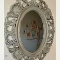 CifraEzüst antikolt tükör, Dekoráció, Bútor, Festett tárgyak, Cifra szép szürke-ezüst tükör Egyedi antikolt festéssel.  Méretei: Kerettel: 62x50 tükör: 32x25, Meska