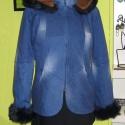 Kapucnis rövid farmer kiskabát, Réthy, Ruha, divat, cipő, Női ruha, Kabát, Kapucnis rövid farmer kiskabát, műszőrme díszítéssel  Méret: 42-es, Meska