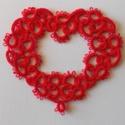 hajócsipke szív (nagyobb), Dekoráció, Dísz, Horgolás, Csipkekészítés, Piros csipke szív. Használható dekorációként, vagy akár valentin napi ajándékkísérőként, Szélessége..., Meska