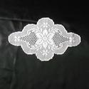 Ovális filémintás horgolt terítő, Otthon & lakás, Dekoráció, Lakberendezés, Lakástextil, Vékony (30-as) pamut horgolócérnából készült terítő, legnagyobb hosszúsága 46cm, szélessége 28cm.  ..., Meska