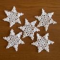 Horgolt karácsonyfadísz, hópehely, csillag, Fehér pamutfonalból horgoltam ezeket a karácson...