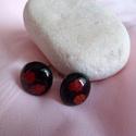 virágos fülbevaló, Muránói üvegből fekete alapon piros virágokat...