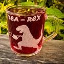 Tea - Rex bögre, Konyhafelszerelés, Férfiaknak, Bögre, csésze, Legénylakás, Üvegművészet, A minta kézi gravírozással készült.  Űrtartalom: kb 2-2,2 dl, Meska