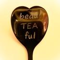 Beauteaful kanál, Konyhafelszerelés, Esküvő, Szerelmeseknek, Bögre, csésze, Kézi gravírozott  szív alakú teáskanál. Anyaga: rozsdamentes acél   A minta időtálló, a ka..., Meska