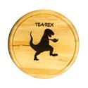 Tea-Rex vágódeszka, Konyhafelszerelés, Férfiaknak, Vágódeszka, Konyhafőnök kellékei, Famegmunkálás, Égetett mintával díszített vágódeszka.  Átmérő: 22cm  Kiegészítő termék: Tea-Rex bögre https://www...., Meska