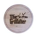 The Grillfather vágódeszka, Férfiaknak, Konyhafőnök kellékei, Legénylakás, Óra, ékszer, kiegészítő, Famegmunkálás, Égetett mintával díszített vágódeszka.  Átmérő: 22cm , Meska
