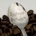 Espresso Patronum kiskanál, Konyhafelszerelés, Férfiaknak, Bögre, csésze, Konyhafőnök kellékei, Fémmegmunkálás, Kézi gravírozott kiskanál. Anyaga: rozsdamentes acél  Tedd egyedivé! A kanál nyelére név, vagy évsz..., Meska