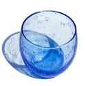 H2O vizespohár, Férfiaknak, Konyhafelszerelés, Sör, bor, pálinka, Bögre, csésze, Üvegművészet, Kézi gravírozott vízmolekulákkal díszített buborékos üvegpohár. Szín: kék Űrtartalom: kb 3,4 dl  Mo..., Meska