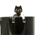 Az én kávém!, Konyhafelszerelés, Bögre, csésze, Kézi gravírozott cicás kávéskanál. Anyaga: rozsdamentes acél, Meska