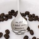 Az élet a kávé után kezdődik, Férfiaknak, Otthon & lakás, Konyhafőnök kellékei, Konyhafelszerelés, Bögre, csésze, Kézi gravírozott koponya alakú kiskanál kávéimádóknak.  Anyaga: rozsdamentes acél Mérete: 15 cm Fejr..., Meska