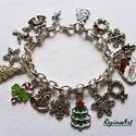 Karácsonyi női charm karkötő, Ékszer, Karkötő, Az ünnepi öltözék kiváló kiegészítője lehet ez a karácsonyi motívumos charm karkötő. 19..., Meska