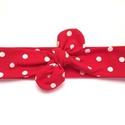 Piros - fehér pöttyös masnis (csomózott) pamut jersey fejpánt / hajpánt, Baba-mama-gyerek, Ruha, divat, cipő, Hajbavaló, Hajpánt, Varrás, Ékszerkészítés, Szuper aranyos divatos kiegészítő ez a masnis fejpánt!  Nagyon jó minőségű pamut jersey anyagból ké..., Meska