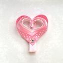 Rózsaszín szívecskés hajcsat, Ruha, divat, cipő, Hajbavaló, Hajcsat, Mindenmás, Ezt az aranyos rózsaszín szívecskét szalagból készítettem, 4,5 cm-es aligátor hajcsatra helyeztem e..., Meska
