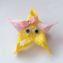 Tengeri csillag hajcsat, Ruha, divat, cipő, Baba-mama-gyerek, Hajbavaló, Hajcsat, Mindenmás, Ékszerkészítés, Ezt az aranyos tengeri csillagot sárga és rózsaszín pöttyös szalagból készítettem, 4,5 cm-es aligát..., Meska