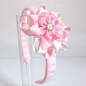 Fehér és rózsaszín virágos hajcsat + hajpánt, Ruha, divat, cipő, Hajbavaló, Hajcsat, Ezt a virágos hajcsatot szalagból készítettem, 4,5 cm-es aligátor hajcsatra helyeztem el. A hajcsato..., Meska