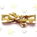 Arany és fehér csíkos, csillogó csillag mintás masnis (csomózott) pamut jersey fejpánt / hajpánt, Baba-mama-gyerek, Ruha, divat, cipő, Hajbavaló, Hajpánt, Fotózásra, ünnepi alkalomra, vagy hétköznapra tökéletes választás ez az arany és fehér cs..., Meska