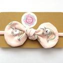 Rózsaszín alapon unikornis (egyszarvú) mintás pamut masni puha rugalmas fejpánt, hajpánt, Ruha, divat, cipő, Baba-mama-gyerek, Hajbavaló, Hajpánt, Nagyon különleges ez a rózsaszín alapon unikornis mintás masni fejpánt, hajpánt!  Limitált, ..., Meska